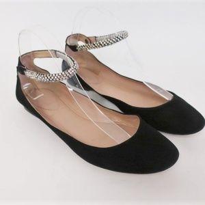 Chloe Crystal Ankle Strap Ballet Flats Size 40